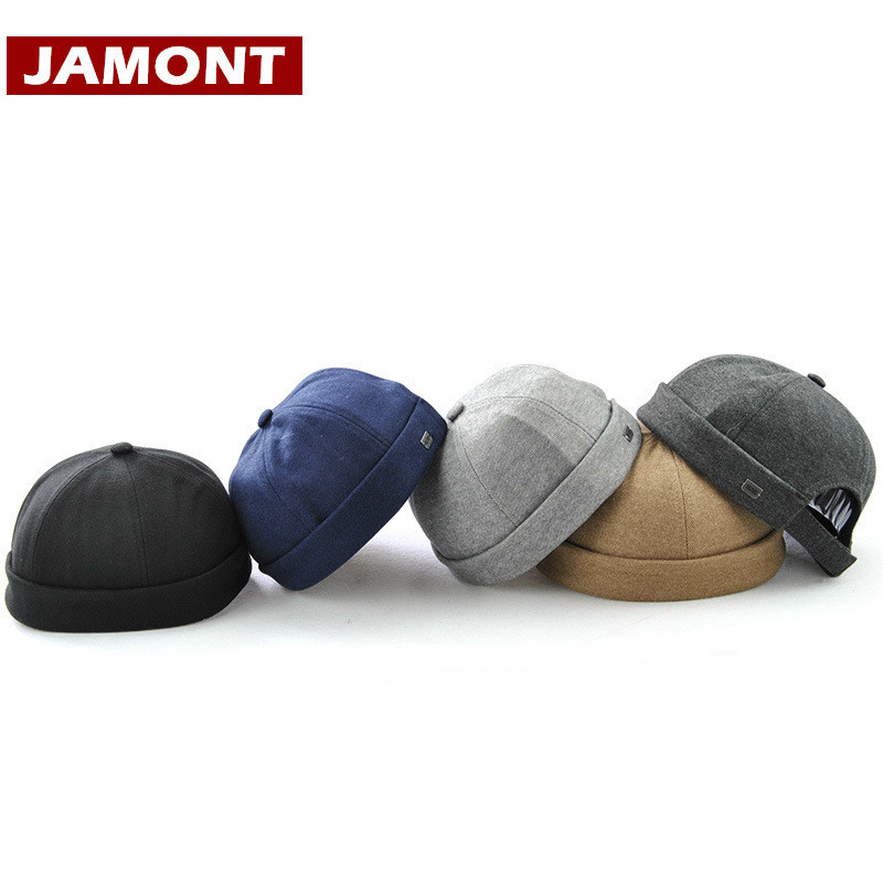[JAMONT] Casual Men Hats   Beanie   Skullcap Solid Cotton   Beanies   Fashion Hat New Portable Casquette Miki Hats and cap