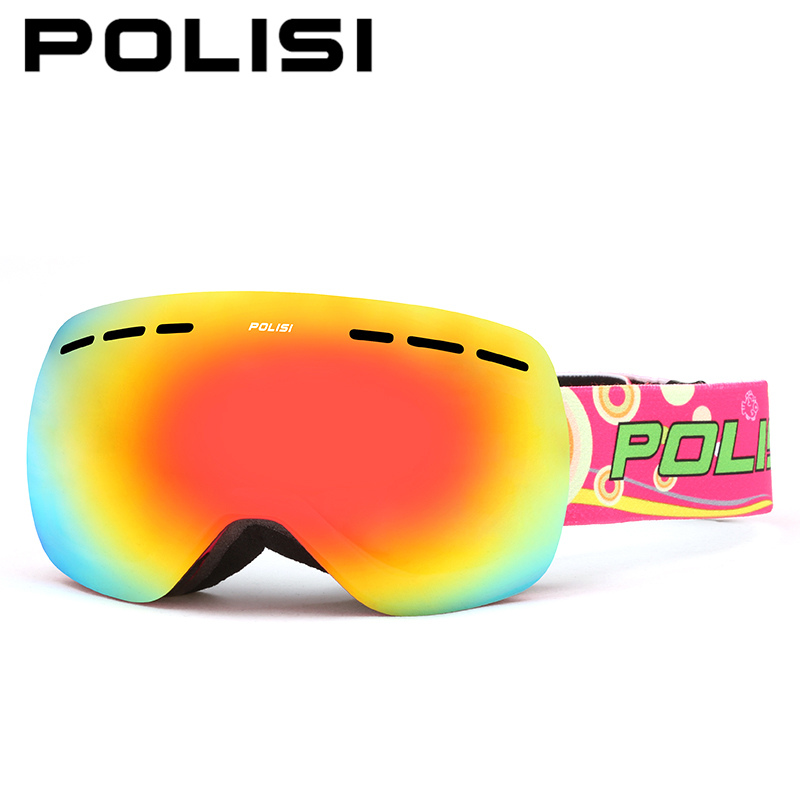 цена на POLISI Winter Ski Snow Snowboard Snowmobile Goggles Double Layer Anti-Fog Lens Eyewear Men Women UV400 Skiing Skate Glasses
