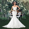 Charming Long Lace Mermaid Wedding Dresses Sweetheart Lace Up Back Applique Bridal Gowns Vestidos De Noiva Court Train CGOO2