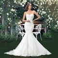 Encantador Longo Lace Sereia Vestidos de Casamento Querida Lace Up Voltar Applique Vestidos de Noiva Vestidos De Noiva Tribunal Train CGOO2