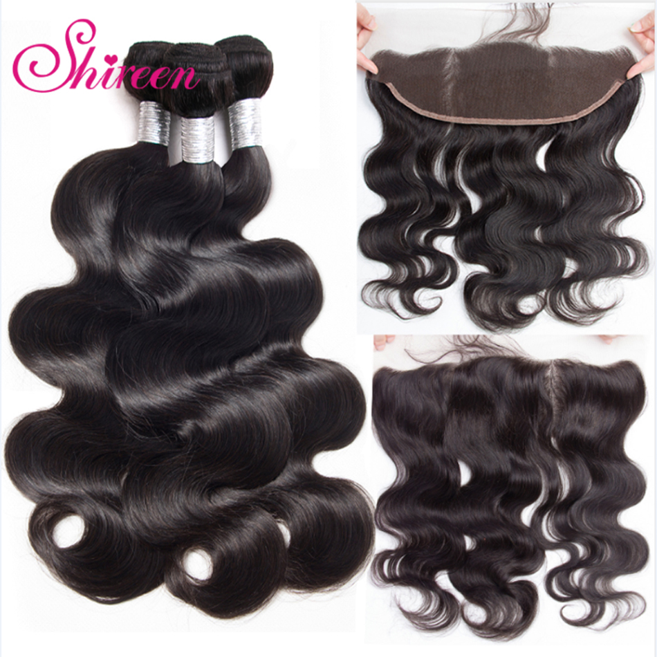Shireen Brazilian Body Wave Lace Frontal Closure With Bundles 13x4 Human Hair Bundles Lace Closure 4PCS Ear To Ear Remy Hair