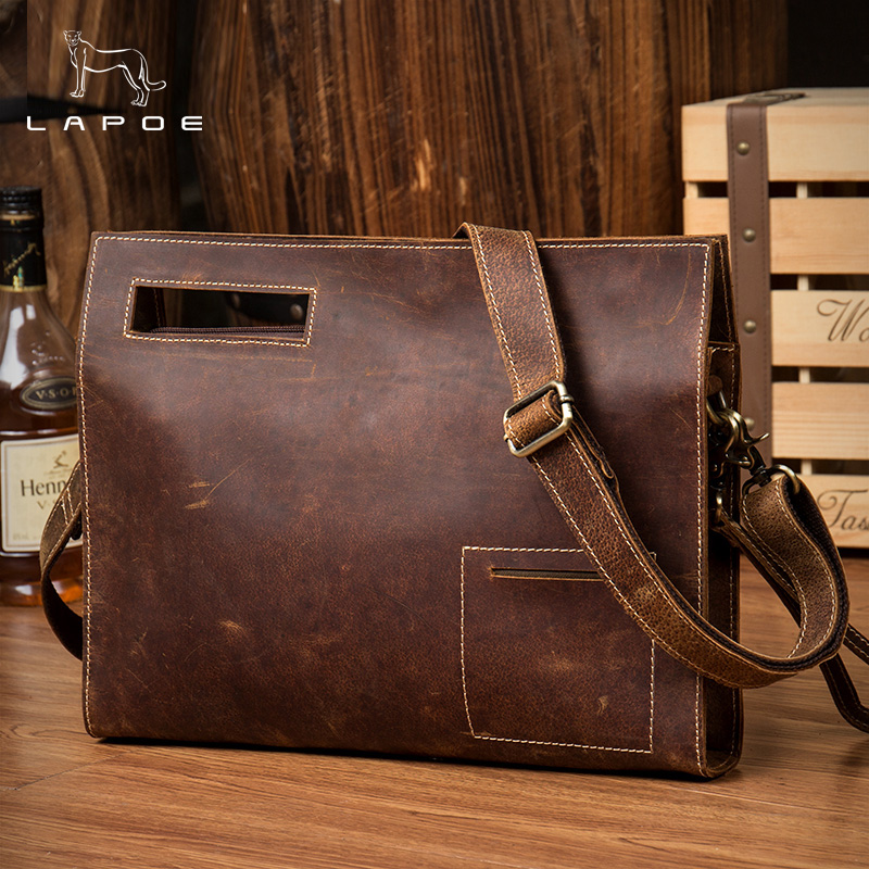 LAPOE Genuine Leather Handbags Men Shoulder Bags Messenger Bag Crossbody Bags Large Male Wallets Purse Bag Cell Phone Wallet neweekend genuine leather bag men bags shoulder crossbody bags messenger small flap casual handbags male leather bag new 5867