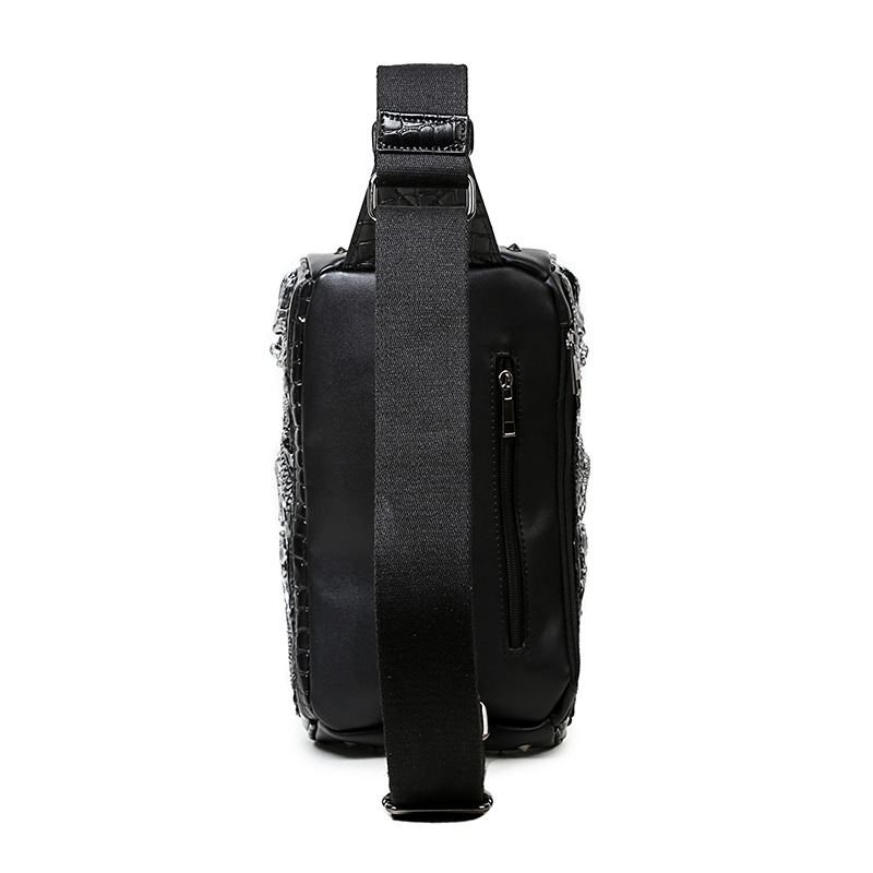 steelsir 2018 New Men Fashion Punk Rock Rivets Chest Bag Embossing Dragon Male Spring Summer Travel PU Leather Crossbody Bags 3