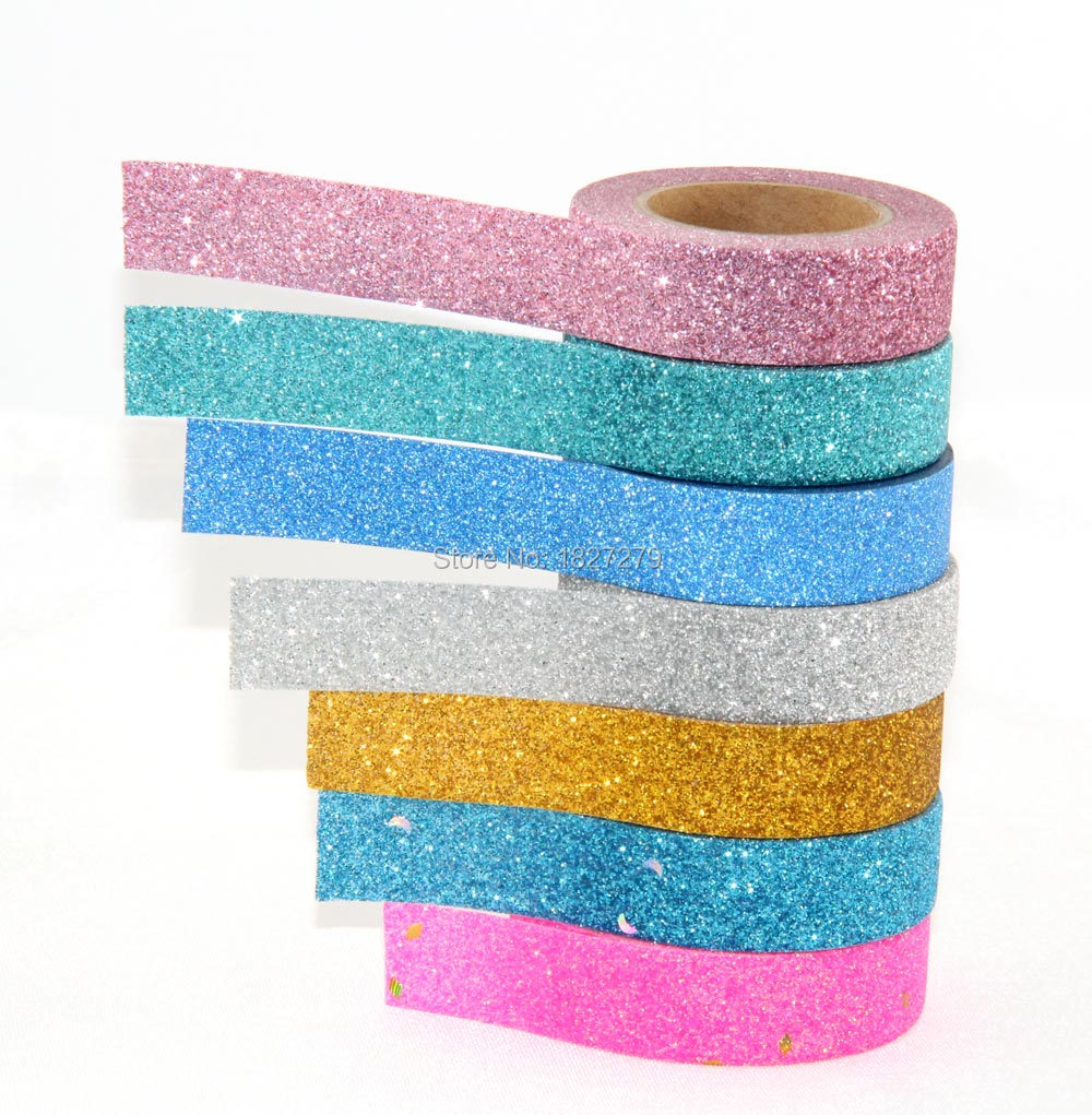 How to scrapbook with glitter - 7x Glitter Sticky Washi Tape Craft Scrapbook Diy Christmas Decorative Masking Japanese Washi Tape Paper Lot