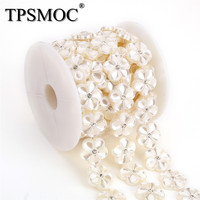 TPSMOC 5yards Trimming Rhinestone Cup Chain Pearls Beads Chain Garland Flowers Wedding Decoration For Jewelry Findings