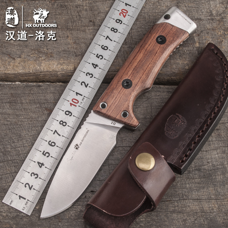 HX OUTDOORS Lok wood handle tactical high hardness straight knife wilderness survival knife self-defense outdoor knife tools hx outdoors army survival knife outdoor tools high hardness straight knives essential tool for self defense cold steel knife