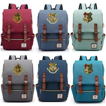 5ba722c0495f Новый Hufflepuff Ravenclaw Слизерин Гриффиндор для мальчиков и девочек  школьная сумка подростков школьные сумки холст для женщин Bagpack мужчин  рюкзак