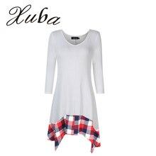 Xuba Women Large Size O-Neck 3/4 Sleeve Shirt Plaid Irregular Loose Tunic Long Shirt  Top zk20
