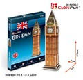 Candice guo! 3D puzzle toy CubicFun S3015 3D paper model DIY jigsaw game mini Big Ben 1pc
