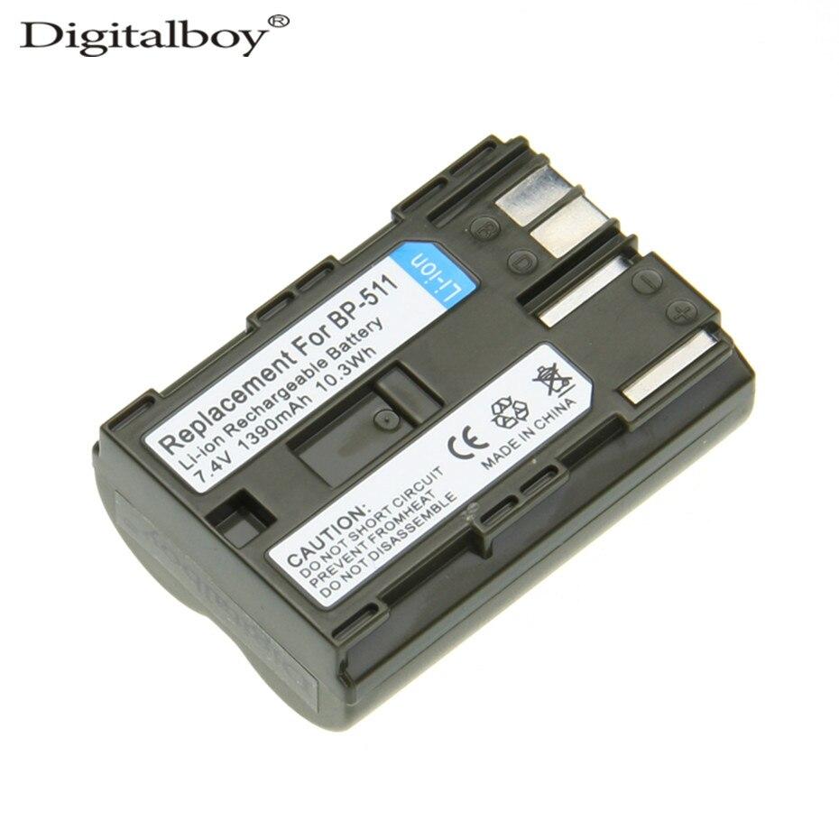 Digitalboy 1 stücke 1390 mah bp-511a bp-500 bp511a bp511 bp 511 kamera akku für canon eos 5d 50d 40d 20d 30d 10d 1d d60 300d d30