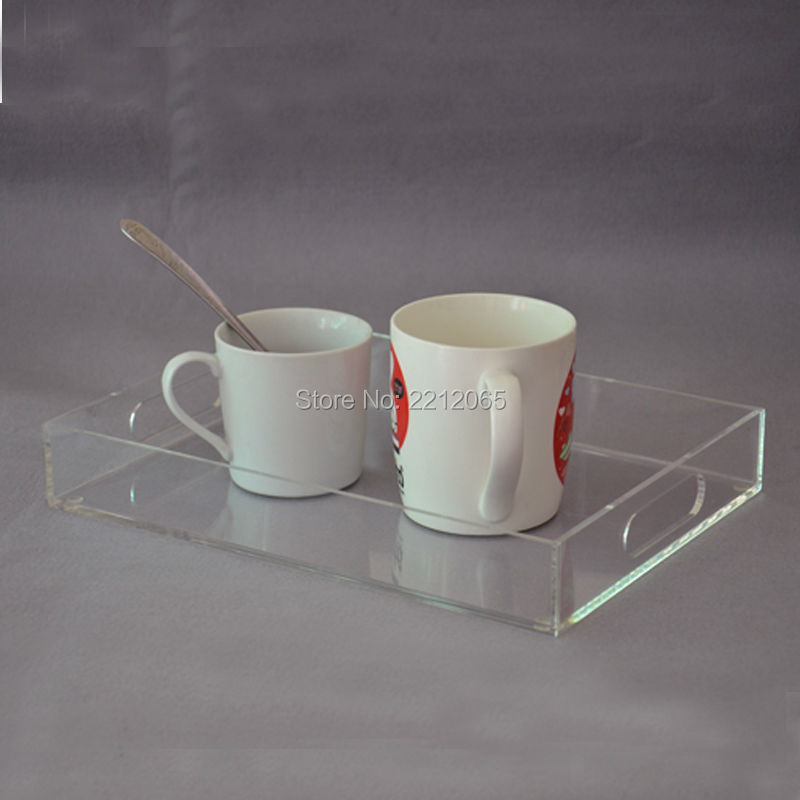 Recycled Rectangular Acrylic Serving Tray with Handles YAT 002