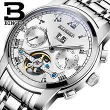 2017 New BINGER men's watch luxury brand Tourbillon sapphire luminous multiple functions Mechanical Wristwatches B8601
