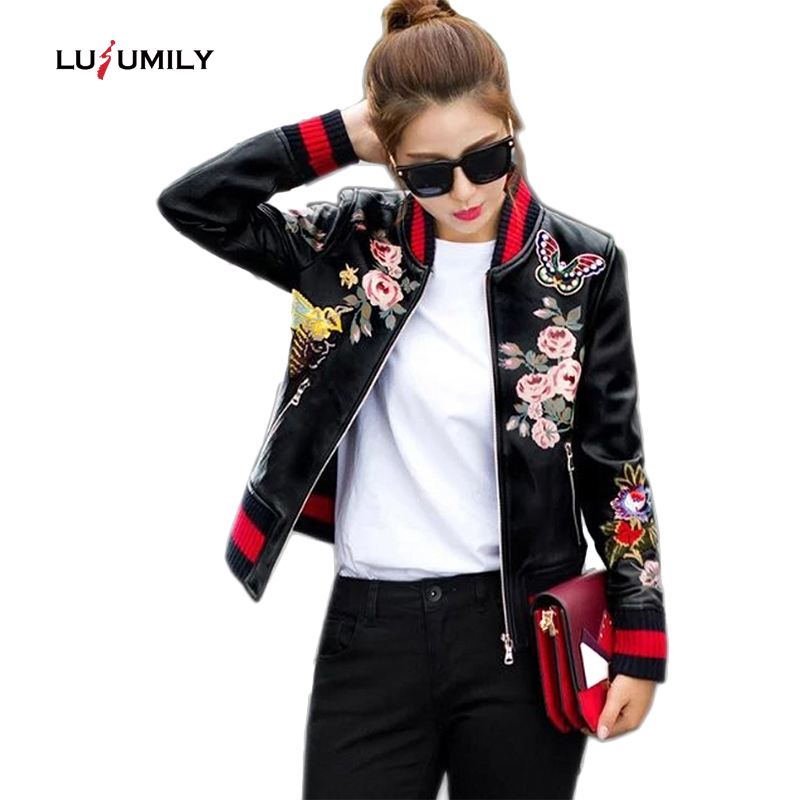 Lusumily Print Pu Bomber Jacket Women Slim Short Basic Coat Floral Animal Female Black Zipper Outerwear