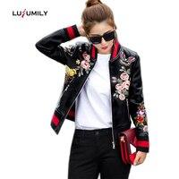 Lusumily Print Pu Bomber Jacket Women Slim Short Basic Coat Floral Animal Female Black Zipper Outerwear Short Casual Ma1 Jackets