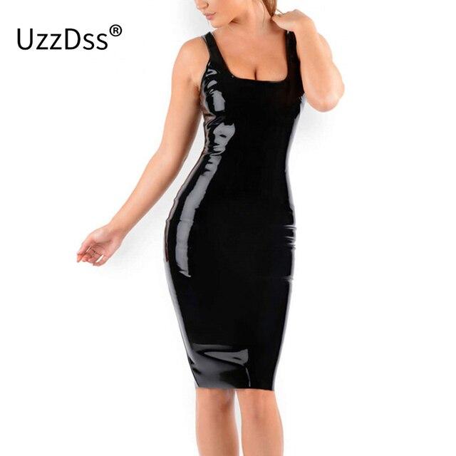 c7268e00caf2c US $13.52 45% OFF UZZDSS 2018 New Sexy Club Dress Black Bodycon Slim Wet  Look Fetish Bondage Vinyl Black PVC dress Leather Bodycon-in Dresses from  ...