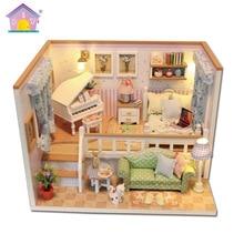 Мини милый Миниатюрный Кукольный Дом Diy деревянная модель дома ручной сборки мебель креативные игрушки-головоломки подарок для детей