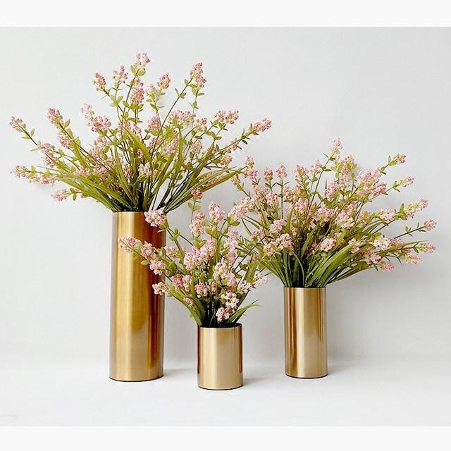 Online Shop Modern Decorative Round Iron Gold Metal Cylinder Flower