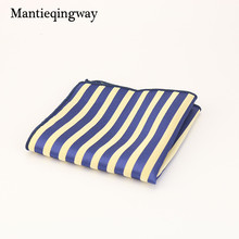 Mantieqingway Striped Dot Floral Printed Handkerchiefs for Men's Suit Brand Polyester Pocket Square Wedding Chest Towel Hanky