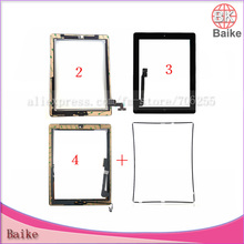 For Ipad 4 Touch Screen for Apple Ipad 2 Ipad 3 Glass Digitizer + Home Button + 3M Tape + Frame Parts Tracking Number