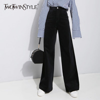 TWOTWINSTYLE Corduroy Palazzo Wide Leg Pants For Women Large Size High Waist Full Length Trousers Female