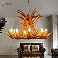 Europe Country 9 Head Candle Antler Chandelier American Retro Resin Deer Horn Lamps Home Decoration Lighting E14 110-240V