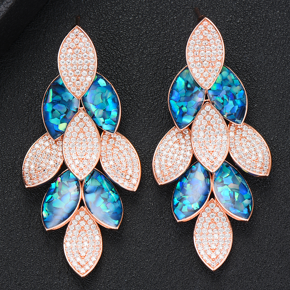 Siscathy 2019 New Personal Earrings Peacock Abalone Shell Big Drop Earrings For Women Dubai Cubic Zirconia Statement Earrings in Drop Earrings from Jewelry Accessories