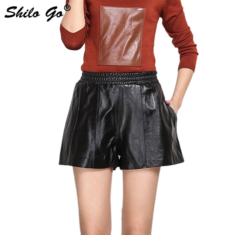 Leather Shorts Summer Spring Fashion Sheepskin Genuine Leather Shorts Stretch High Waist Concise Wide Leg Shorts