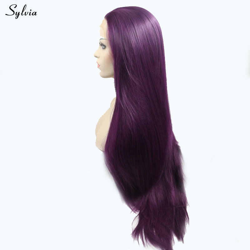 Sylvia Dark Purple Light Color Synthetic Lace Front Wigs Natural Hairline Long Straight Wig For Women Cosplay High Temperature