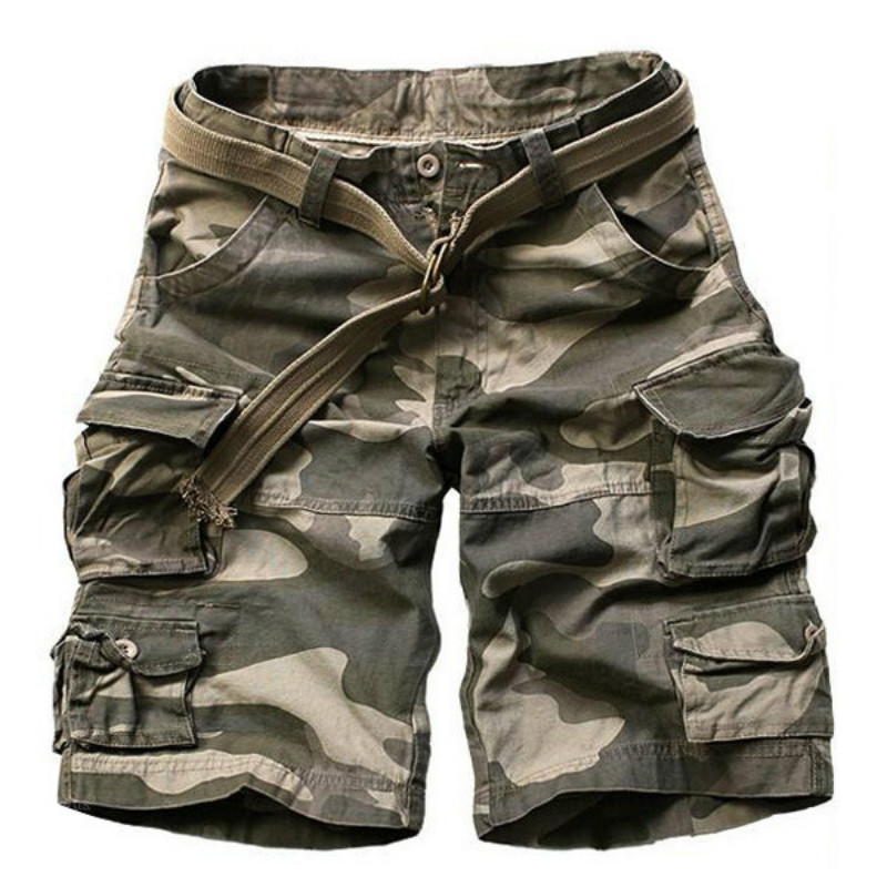 2019 Summer Men army green Camouflage Shorts Casual Camo Knee-length Mens Cargo Short trousers bermudas hombre shorts with Belt