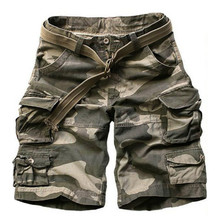 цена на 2019 Summer Men army green Camouflage Shorts Casual Camo Knee-length Mens Cargo Short trousers bermudas hombre shorts with Belt
