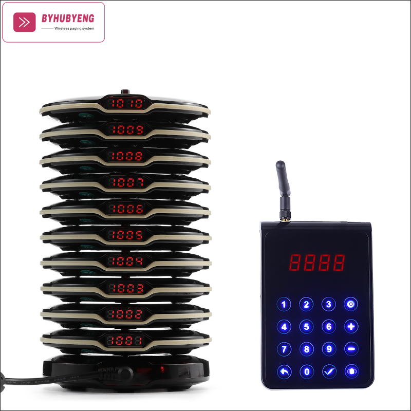 BYHUBYENG Wireless Queuing Pager System Customer Pager Restaurant 10 pcs pagers 1 Charging Base Wireless Calling