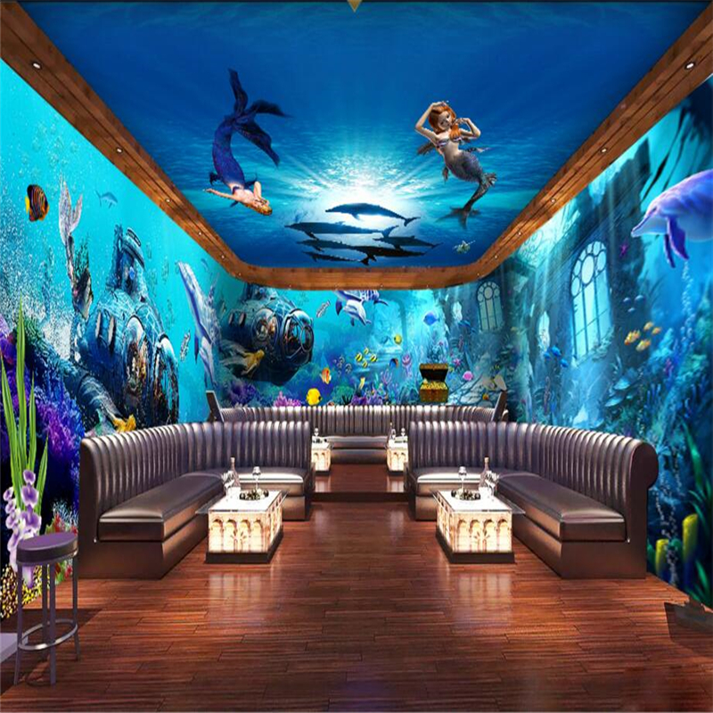 Beibehang submarine quest marine mermaid wallpaper lounge for Wallpaper for lounge wall