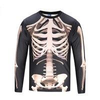 Men's 3D Print Long Sleeve T Shirt Elastic Sports Fake Two Piece Bone Men's Pullover tshirt men CX022