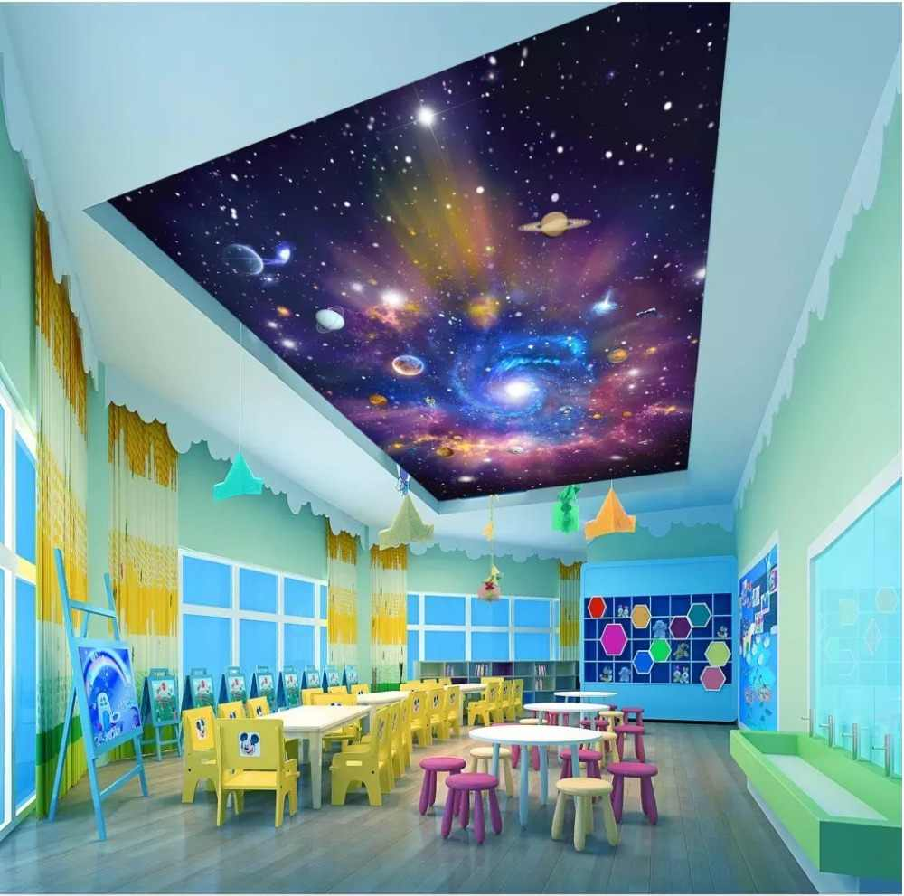 space ceilings blue sky ceilings  Large Mural Waterproof Canvas Self-adhesive Removable Sticker 3D Living Room Bedroom Ceiling