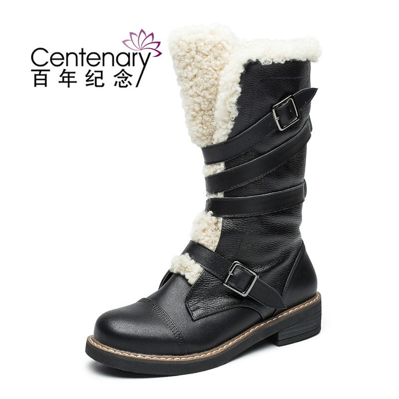 Autumn and winter snow boots lamb wool belt buckle Martin boots with high boots boots shoes autumn winter women martin snow boots