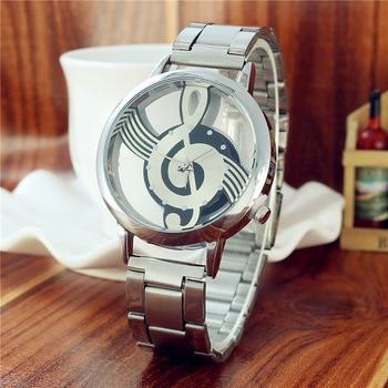 montre femme 2019 New Fashion Hollow Music Symbol Men Watch Silver Steel Belt Quartz Watch Luxury Brand Alloy Dress Wristwatches