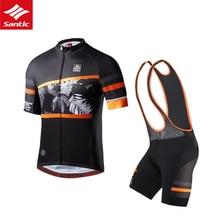 цена на SANTIC Cycling Jersey Set Summer Men Cycling set Racing Bicycle Clothing Suit Breathable Mountain Bike Clothes  Bib shorts set