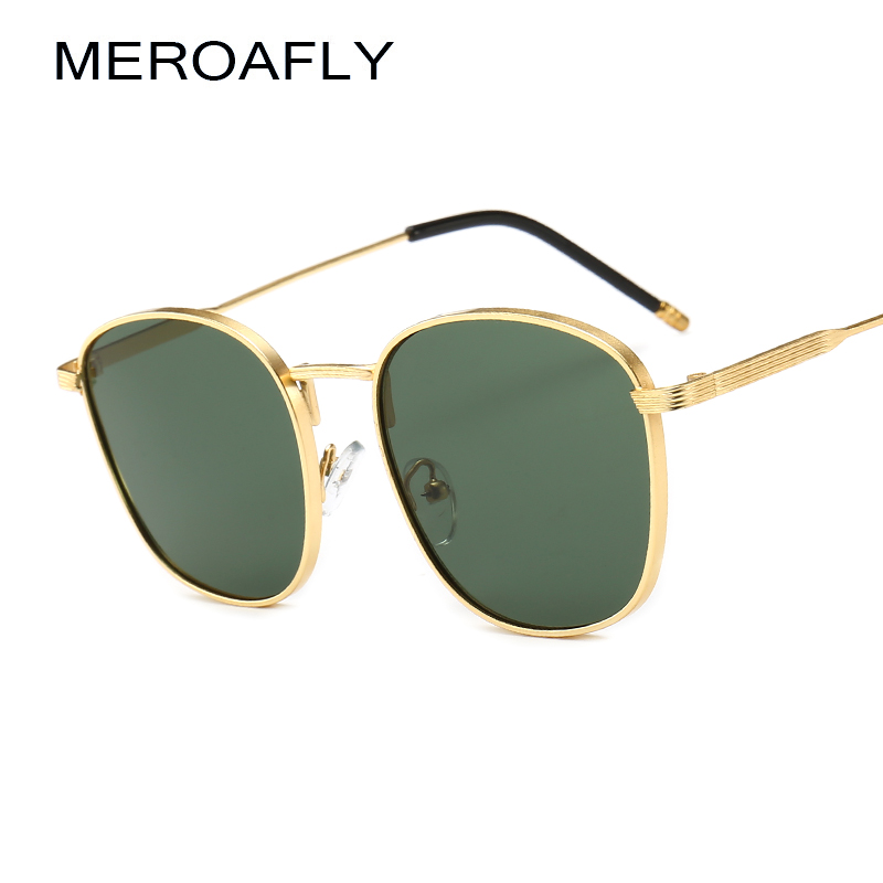 MEROAFLY Gold Square Sunglasses Men Luxury Brand Metal Vintage Designer Sun Glasses Women lunette de soleil homme Redondo shades