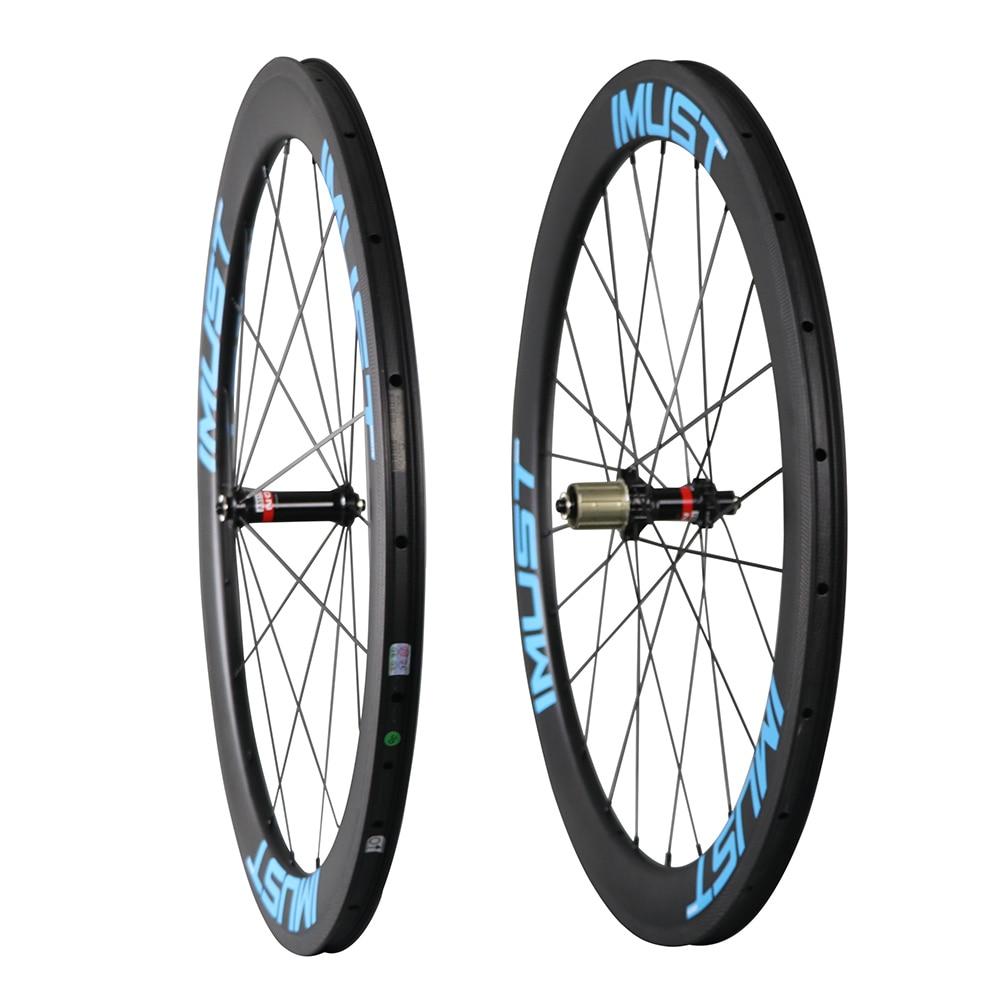 Fast 50 High quality road bike carbon wheels 700c 50mm clincher tubeless ready 3K brake surface 25mm width U shape