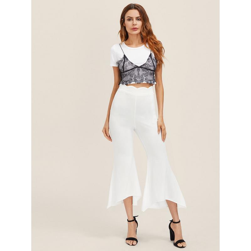 Female fashion Irregular Horn Pants Casual Black Flare Pants 2019 Spring Autumn High waist White Wide Tight Trousers in Pants amp Capris from Women 39 s Clothing