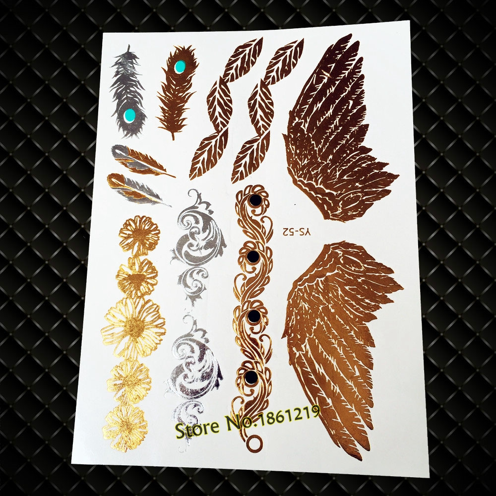 25 Style Gole Metallic Wing Peacock Feather Tattoo Waterproof Flash Flower Leaf Jewelry Tatoo Body Art Temporary Tattoo Stickers
