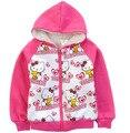 Детская верхняя одежда 2016 осень мода девушки с длинным рукавом толстовки густой шерсти Hello Kitty мультфильм молнии толстовка установите 2Y-8Y