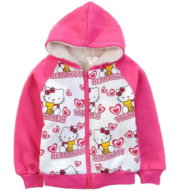 Outerwear 2016 moda outono luva longa das meninas das crianças hoodies lã grossa Olá Vaquinha dos desenhos animados zipper camisola fit 2Y-8A