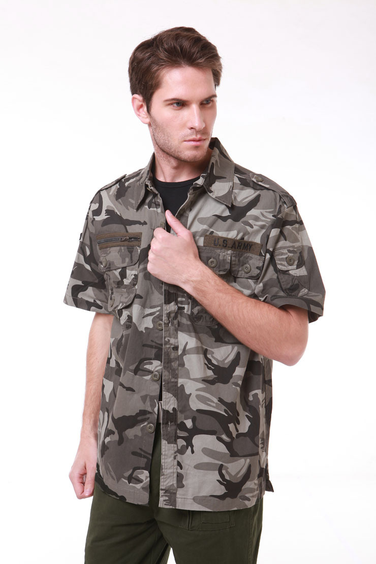 High Quality Cotton Mens Military Style Usa Army Camouflage Fighting Shirts Cargo Shirts Casual Short sleeves