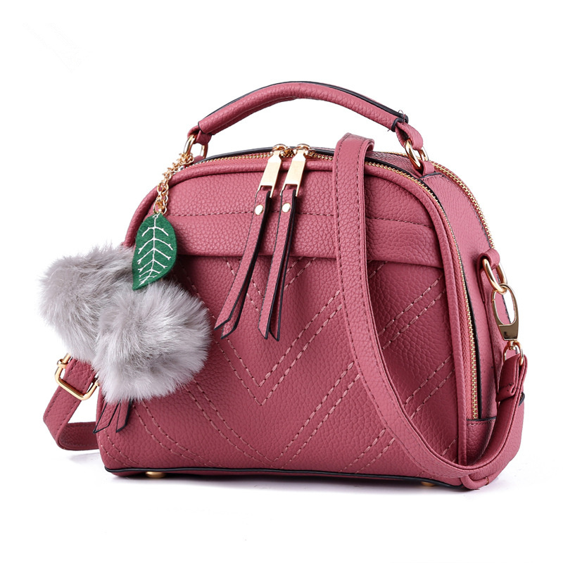Casual Dark Pink PU Women Lady Shoulder Bag Multifunction Fashion Handbag Crossbody Messenger Zipper Ajustable Straps fashion small rectangle pu women shoulder bag pink handbag crossbody messenger rivets decoration ajustable straps