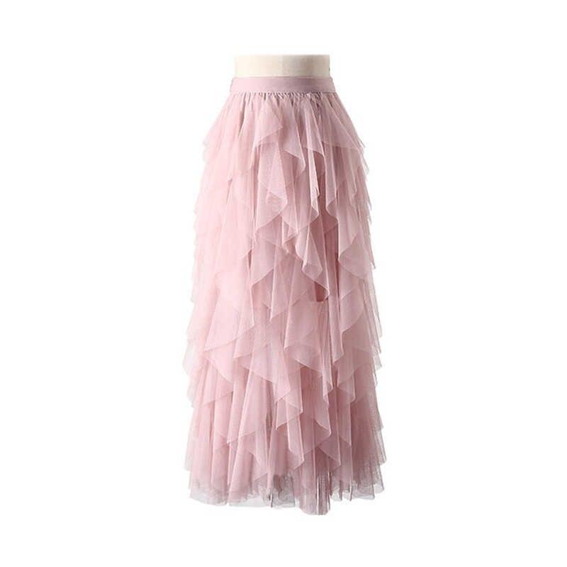 Fanco модная балетная юбка женская юбка из тюля длинная юбка макси корейские демисезонные черный, розовый Высокая Талия Женская плиссированная юбка