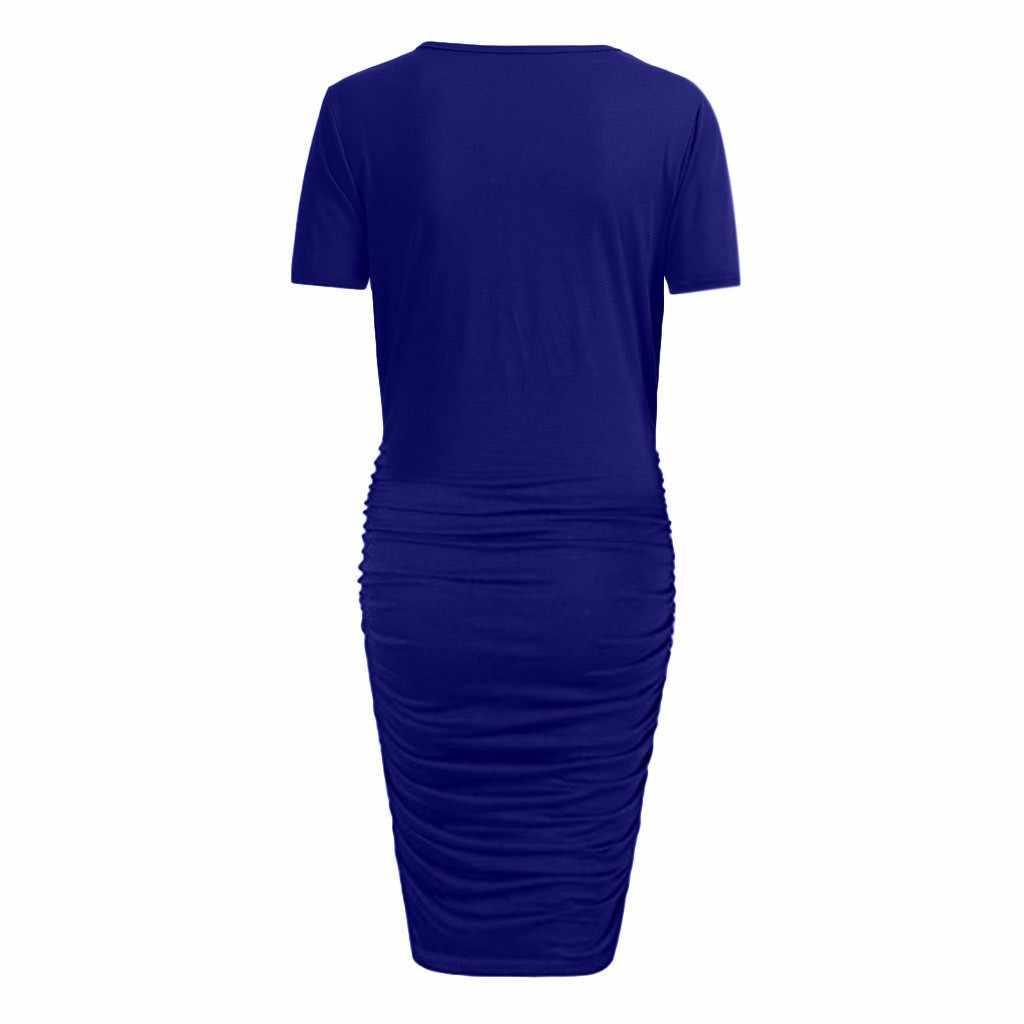 כלה אלגנטית ליולדות בהריון שמלת הריון שמלת כותנה שמלת הריון קצר שרוול קיץ 2019 # G8