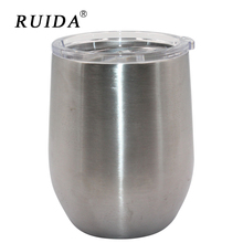 RUIDA 10oz Hot New Style Cups Egg Shaped Mug 304 Stainless Steel Wine Glass with Lid Wine Beer Cup on Sale ST005