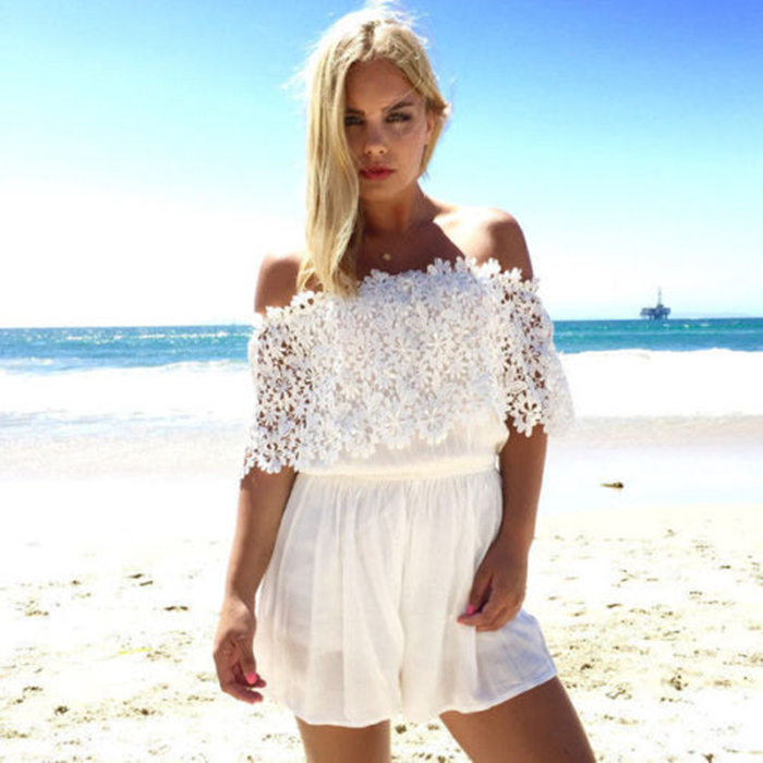 Fashion Women casual summer short sleeve lace off shoulder slash neck backless white loose playsuit