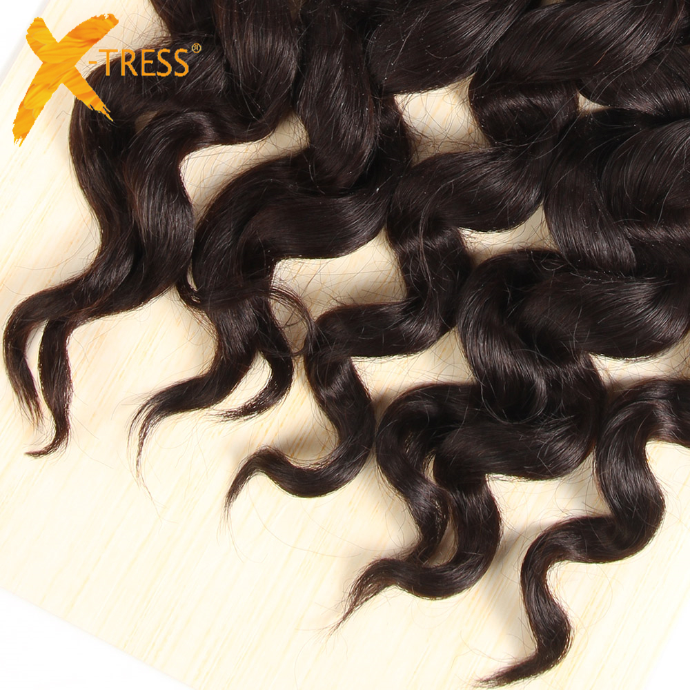 X-TRESS Loose Wave Hair Bundles 4Pcs/Pack 16 16 18 18inches Natural Black High Temperature Fiber Hair Weaving Extension One Pack